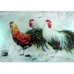 Schilderij Impressionistisch John Frel Haantje de Voorste Dieren schilderijen