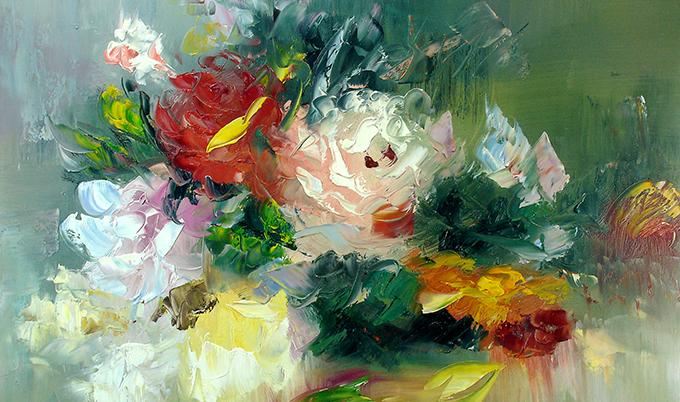 New Bloemenschilderijen Impressionisme John Frel kunstschilder @DL65